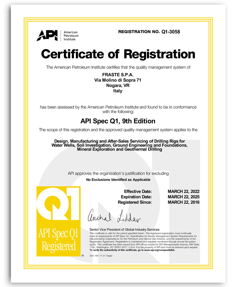 Certificazione API Specification Q1